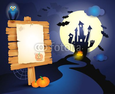 Halloween background with signboard