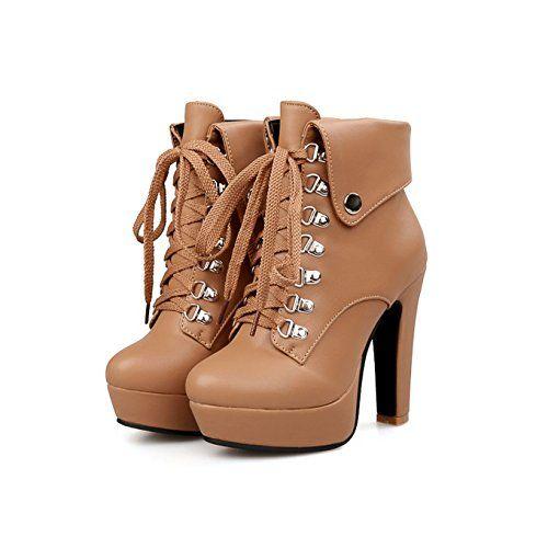 Farleen Damen Ankle Boots Mit Schnürsenkel Blockabsatz Winterschuhe High Heels Plateau Braun Gr.39