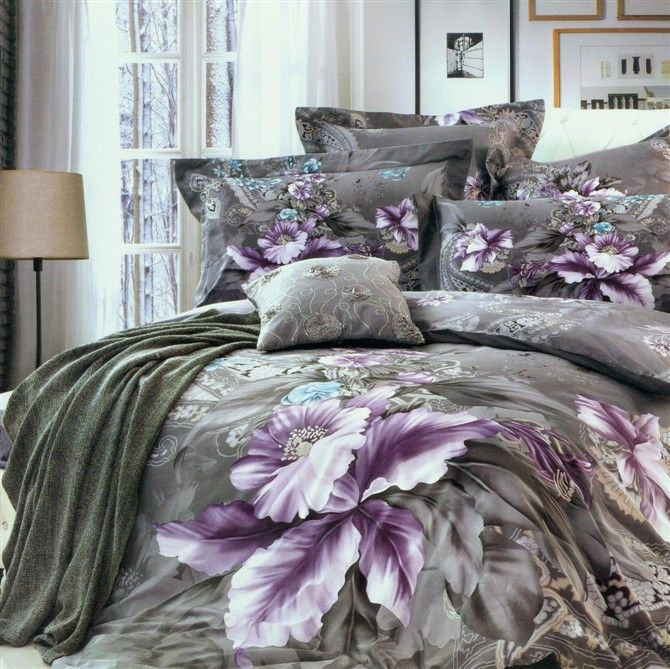 online shop new beautiful cotton doona duvet quilt cover set bedding set full queen king size colorful grey purple flowers