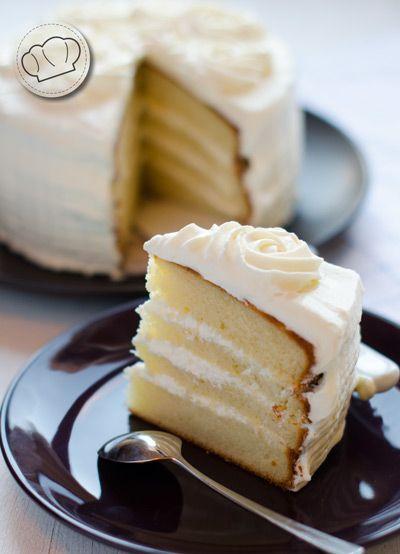 receta de pastel blanco o white cake.