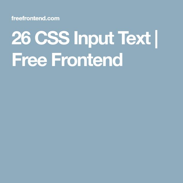 26 CSS Input Text | Free Frontend