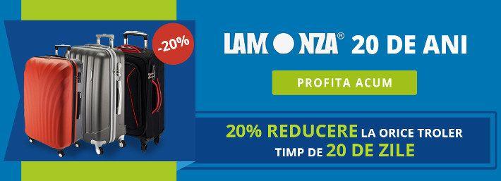 In urma cu 20 de ani se lansa marca de succes LAMONZA. Pentru a celebra aceasta perioada va ofera 20% reducere pentru orice troler, timp de 20 de zile! Poti sa-ti alegi un troler mic, mediu sau mare, pentru orice vacanta.