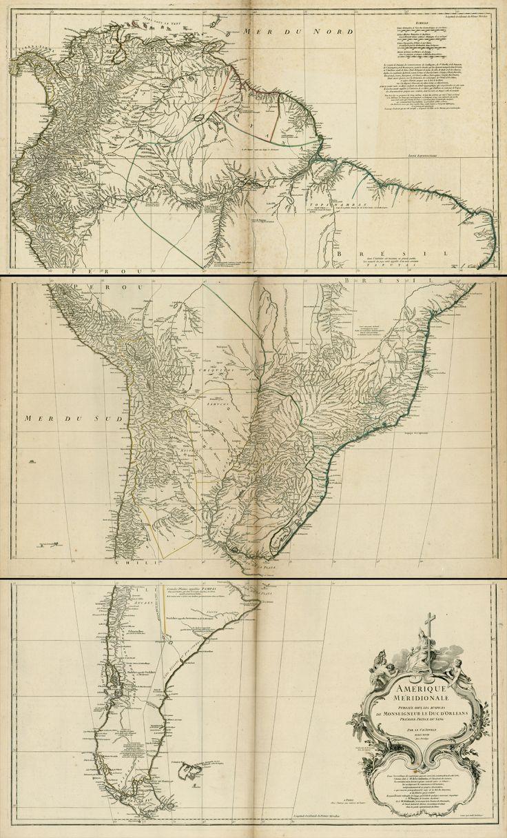 """""""O Mapa que Inventou o Brasil"""", de Júnia Ferreira Furtado / Em 1750 o Tratado de Madrid (que usará o Mapa das Cortes) aboliu o de Tordesilhas. O diplomata Dom Luís da Cunha, criador da Livraria Régia, patrocinou o mapa (1748) de Jean Baptiste Bourguignon D'Anville, cartografo do rei francês com 22 anos; um dos últimos cartógrafos de """"gabinete"""" (substituídos pelos engenheiros militares). Uma de suas fontes foram os """"Irmãos Nunes"""", 3 cristãos-novos / Uti possidetis, ita possideatis"""