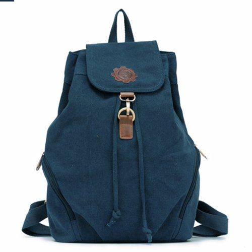 EcoCity Unisex Leisure Canvas Travel Rucksack College Style Backpack- Medium (Blue) EcoCity