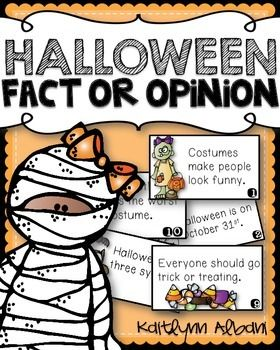 Halloween fact or opinion sorting cards activity! FREE!