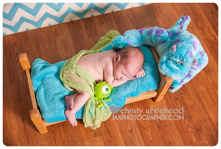 Disney Pixar Monster's Inc inspired newborn set. Love all the teal and green in this! Grampa was a big Marvel Hulk fan. So this little girl had a cute comic inspired session. North Florida/Jacksonville photographer Christy Whitehead Photography www.ChristyWhitehead.com