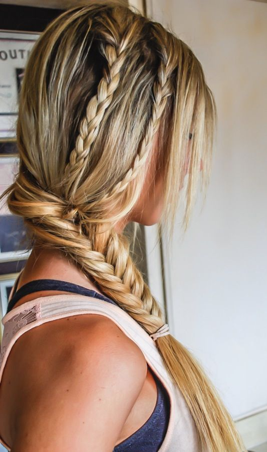 Braid two smaller braids into a bigger braid to create a dramatic look!