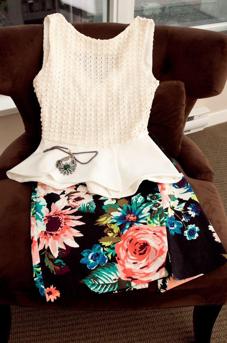 chic white peplum top with floral skirt
