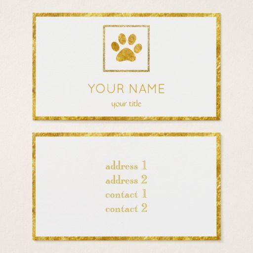 golden paw print pet business card