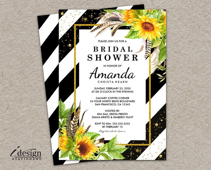 165 best bridal shower invitations images on pinterest sunflower bridal shower invitation elegant printable floral black and white stripe wedding shower invitations with gold glitter confetti filmwisefo