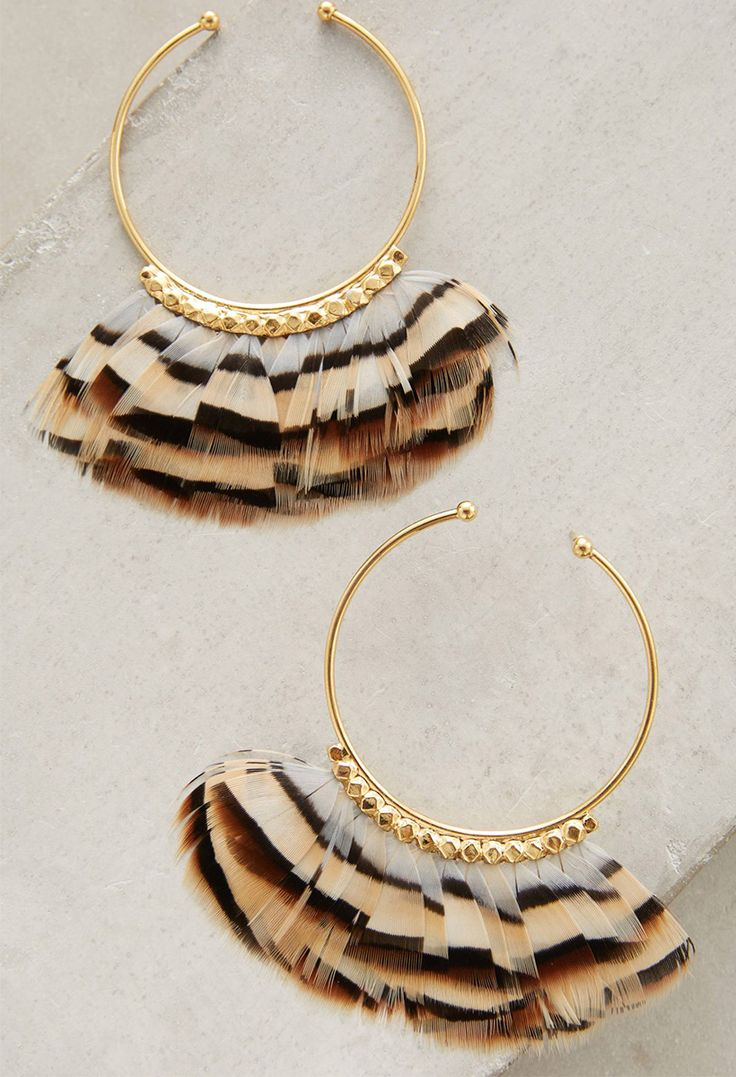 feather print earrings!