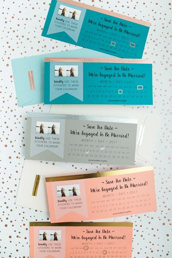 Make your wedding planning a breeze with these free save-the-date invitations and stickers. Courtesy of Something Turquoise, this tutorial can be used with any color theme and your guests will love the photo calendar stickers.