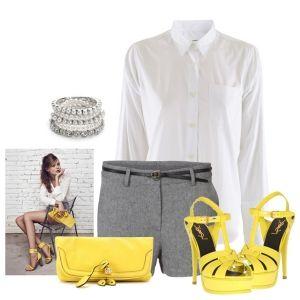С чем носить желтые босоножки: серые шорты, белая рубашка и желтый клатч