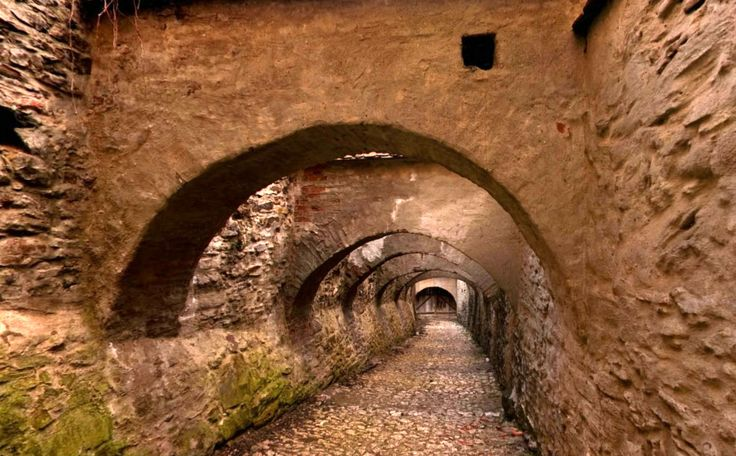 The tunnel leading to the Fortified Church - Biertan Village in Transylvania, Romania
