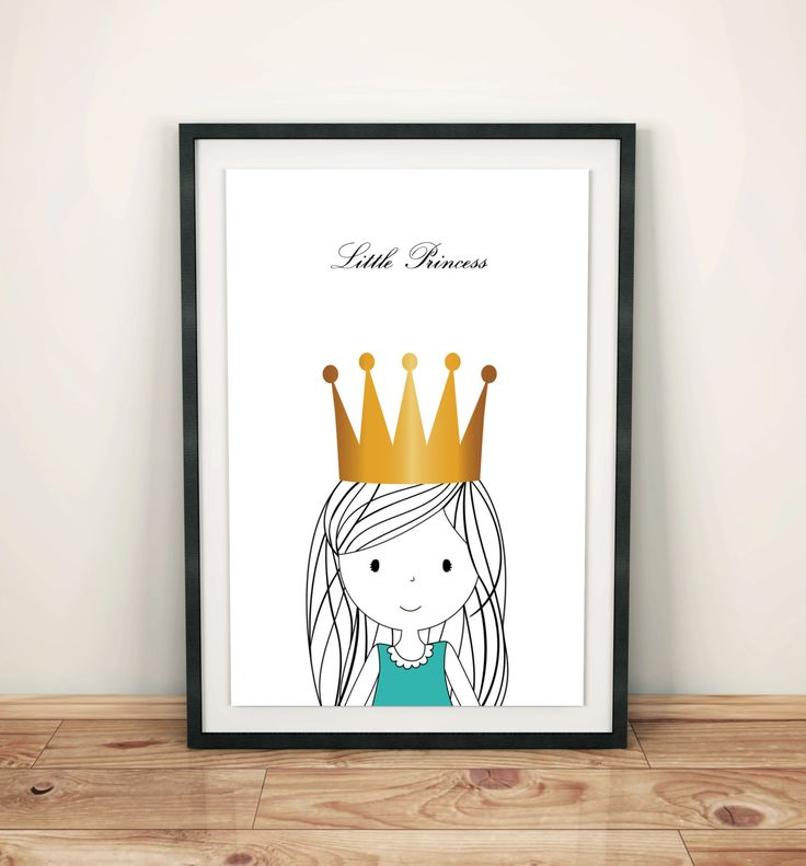 Nursery prints poster with sweet little princess, wall art decor, kids room, simple design, for girl, graf poster by GrafPoster on Etsy