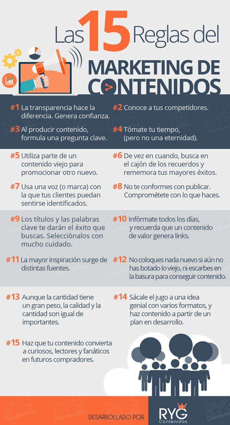 Hola: Una infografía con15 reglas del Marketing de Contenidos. Vía Un saludo
