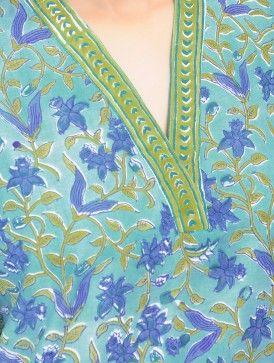 Blue-Green Floral Block Printed V Neck Cotton Kurta