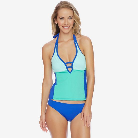 Shades of the Sea Halter Tankini Top,Washed Navy Heather