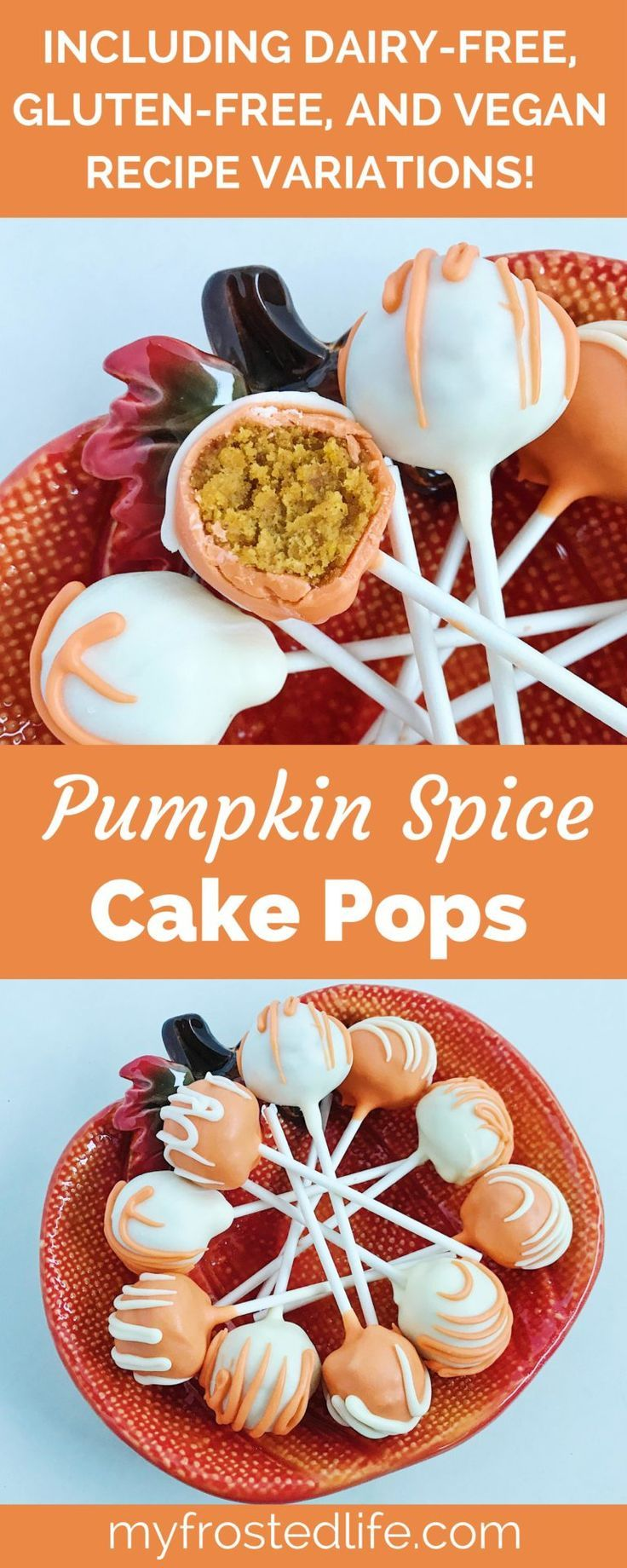 It is finally pumpkin spice season! These Pumpkin Spice Cake Pops are a recipe that feature a moist pumpkin cake bound with cream cheese frosting covered in white chocolate. This recipe includes dairy free, gluten free, and vegan recipe variations so everyone can enjoy these delicious treats!
