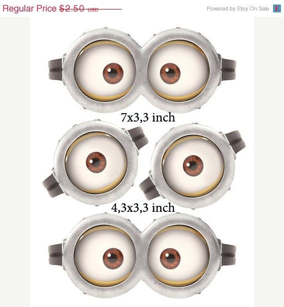 "25% off SALE INSTANT DOWNLOAD D Minion Eyes 7"" x 3,3"" and 4,3x3,3 inch on Etsy, £1.16"