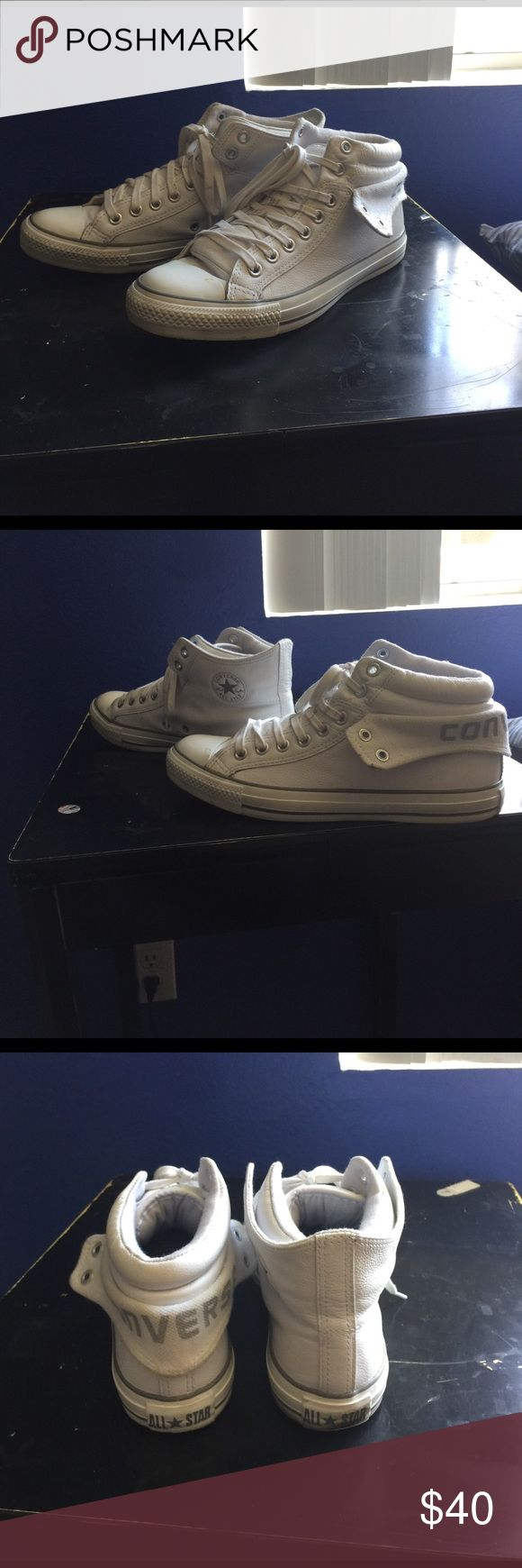 Unisex White Leather CONVERSE  High Top Fold Down Unisex White Leather CONVERSE High Top Fold Down Sneakers. I got these in Adelaide, Australia. Wore hem a handful of times. They are in great shape. Need to be run through the washer to get rid of the stains on the left toe (pictured) and shoe laces. Size 8 men/10 women Converse Shoes Sneakers