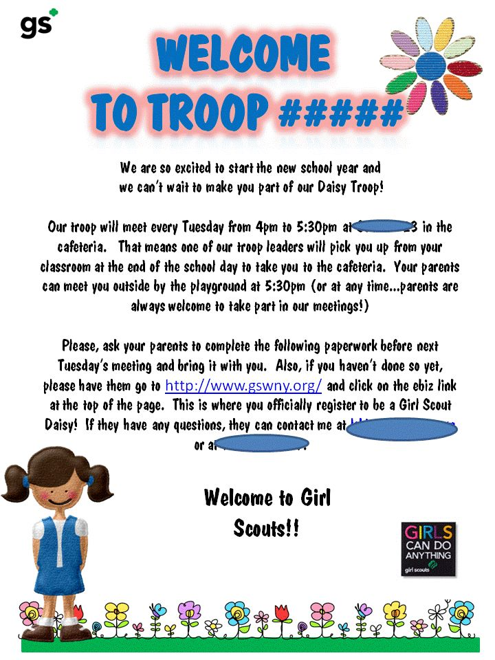 tiffany london Welcome Letter Daisy Girl Scouts  given to girls the first week of school