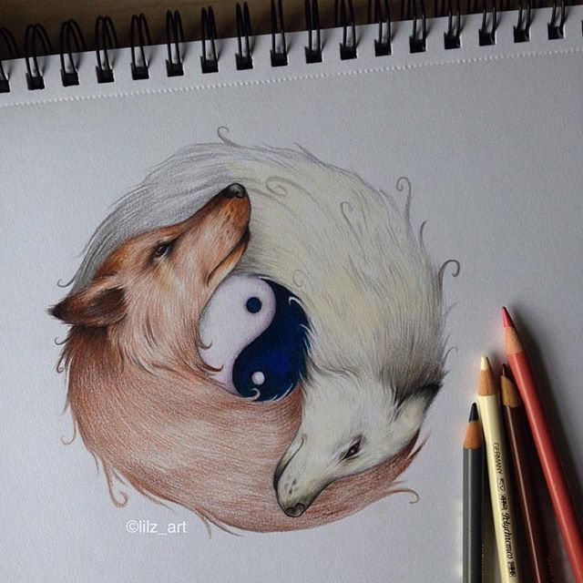 Yin-Yang Wolf By @lilz_art  _ Also check out our new art featuring page @artshelp