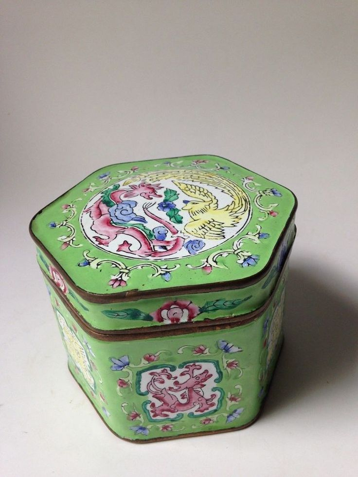Enamel - Brass hand painted Trinket Box. Asian Decor, Phoenix and Dragon Motif. Hexagon Shape. In very nice pre-owned condition. | eBay!