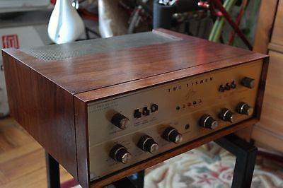 FISHER-X-202-B-7591-tube-amplifier-SERVICED-wooden-cabinet-Rare-GOLD-faceplate