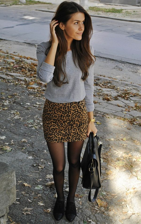 Leopard a line skirt with grey jumper