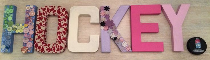 #hockey #icehockey #canada #flowers #buttons #craft #girl #room #decor #colour #letters #puck