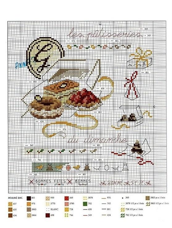 baked goods, patisseries, cross stitch pattern