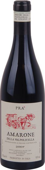 In stock - 67,89 € 2007 Pra Amarone della Valpolicella, red dry , Italy - 93pt This Amarone is a big representant of wines from region Veneto. Wine with hint of fresh fruit, graphite, liqueur, accompanied by minerality and in the end beautiful cocoa finish. This wine has long life ahead.