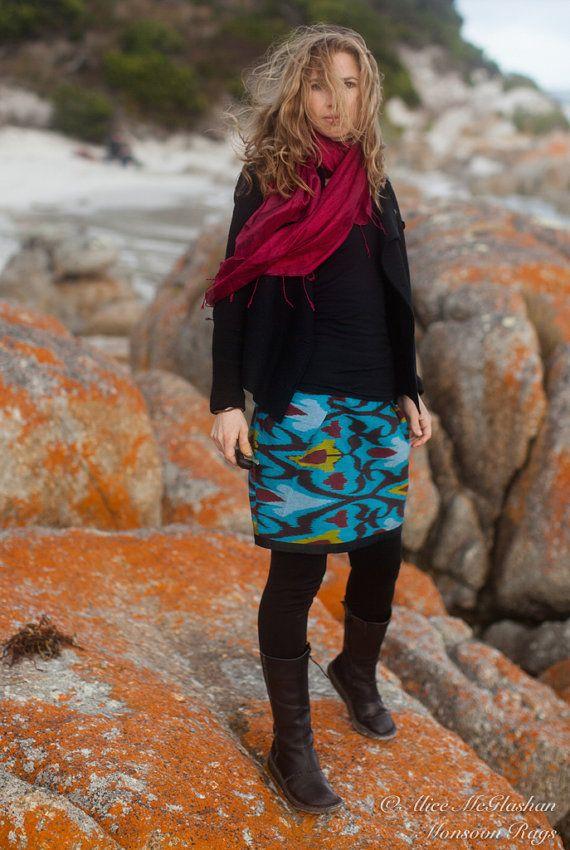 Uzbek Ikat Teal and Cherry Skirt by MonsoonRags on Etsy