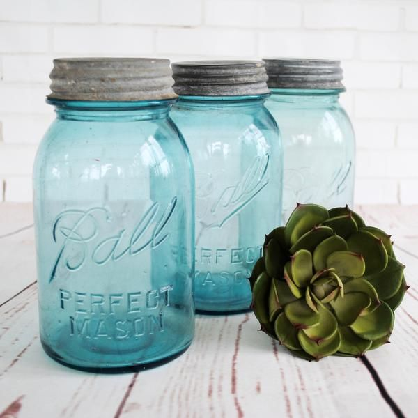An authentic blue glass mason jar complete with a zinc lid would be the perfect additon to your farmhouse decor!  This listing is for one jar. These jars are in
