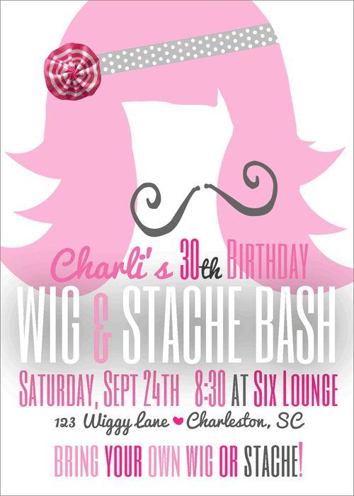 Stache Bash {5x7}-wig and mustache bash, wig and stache party invite, stache bash, stach bash invite, party box design, party decor, 30th birthday invites, mustach party invitations, wig party invite