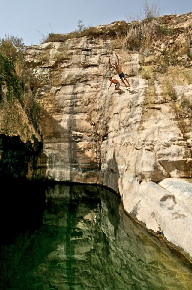 Cliff Diving at Ein Akev