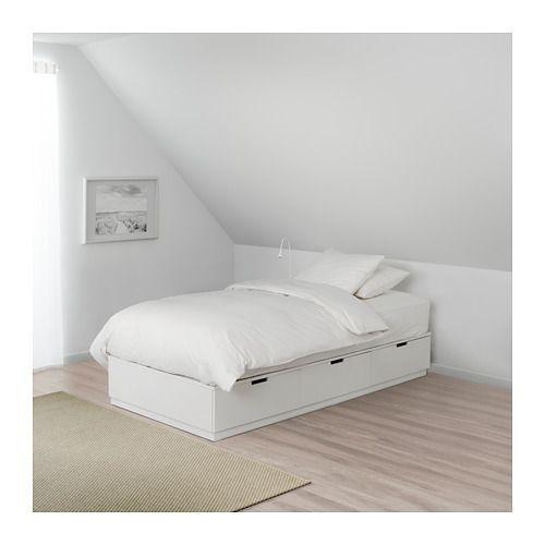 NORDLI Sängynrunko, jossa laatikot, valkoinen 90x200 cm