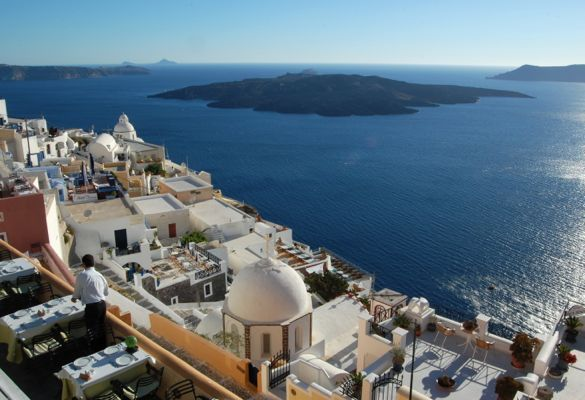 The stunning view from Santorini's hotels and restaurants.
