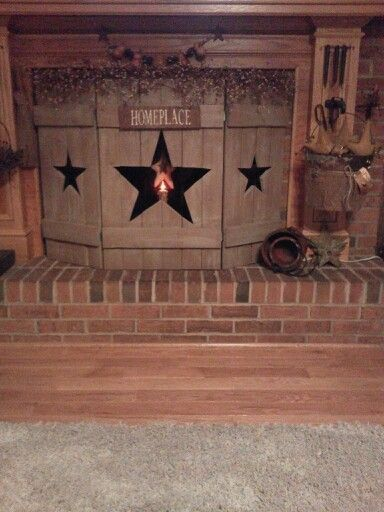 Primitive Wooden Fireplace Screen