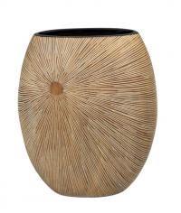 Polyresinová váza v přírodních barvách. Vyrytý paprskovytý vzor.  V interiéru můžete efektně kombinovat s dalšími polyresin výrobky stejného provedení.  Výška: 35 cm