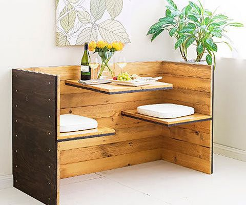 How to build a romantic seat for two: Build your own retro dining nook for a cosy corner. Sure you could cuddle on the lounge with a box of chocolates, but to get really intimate, how about enjoying breakfast, or a lovely meal and a glass of wine, in this booth. It's made just for two!