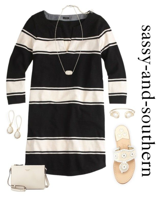 """""""cute outfit"""" by sassy-and-southern ❤ liked on Polyvore featuring J.Crew, Jack Rogers, Kendra Scott and Kate Spade"""