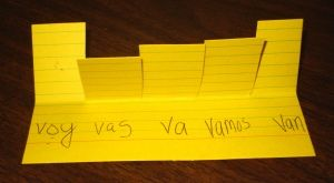 verb conversation card- for hard to conjugate verbs like ser and hacer in the past tense. Put kids in groups to focus on using all forms in conversation with these cards.