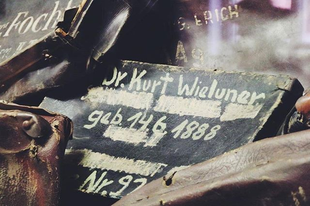 Auschwitz I. Block 5. A suitcase which belonged to Dr. Kurt Wieluner.  Kurt Wieluner was born on 14 June 1888 in Breslau in Germany. He was sent to Theresienstadt ghetto on 2 April 1943 & deported to Auschwitz on 16 October 1944. His transport of 1500 Jews arrived there the next day. Kurt Wieluner was murdered in a gas chamber. --- Photo by @leattox --- #Auschwitz #Birkenau #AuschwitzMemorial #history #Holocaust #Shoah #Theresienstadt #Breslau #suitcase #human #story