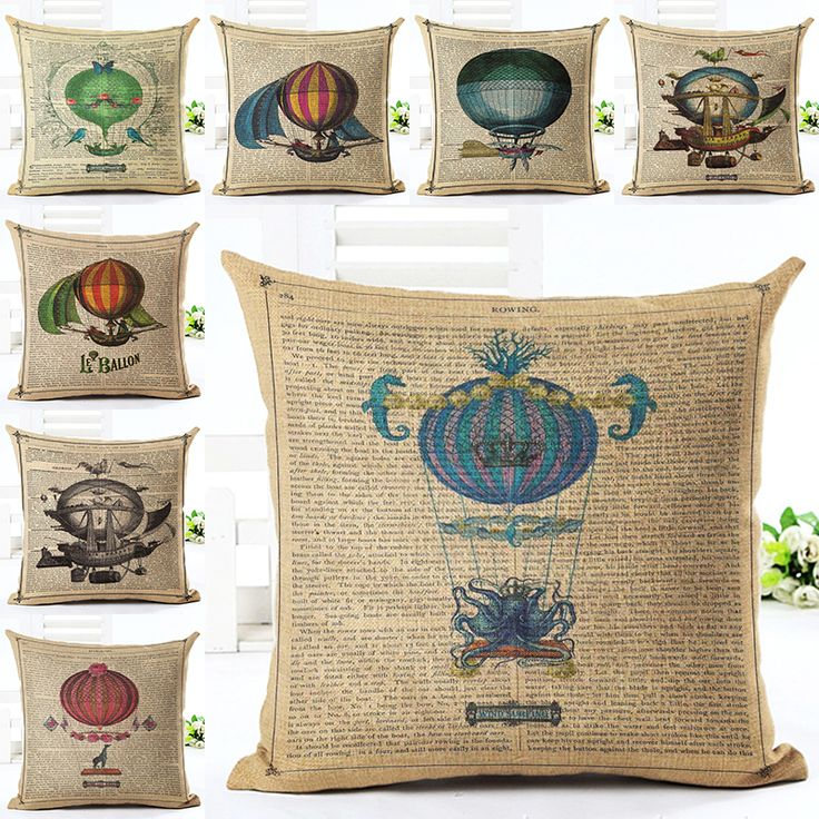 Cheap Cushion Cover Buy Directly from China Retro Style High Quality hot air balloon Pillow Almofadas Linen Pillow Decorative Linen Cushion Without Filling