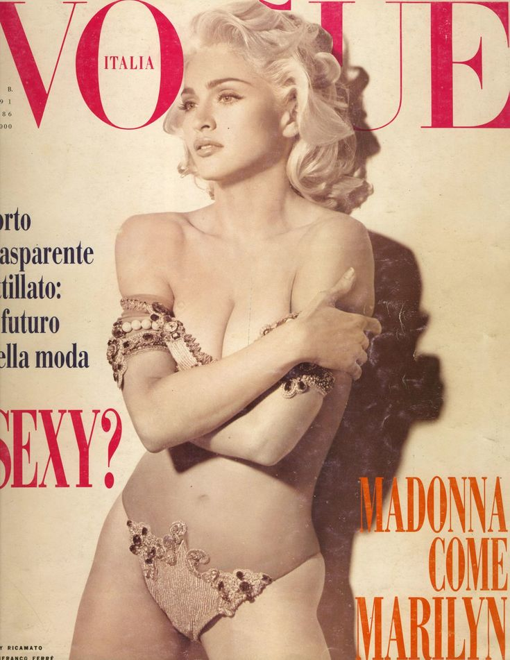 Italian Vogue's February 1991 cover,  featured the material girl, Madonna photographed by Steven Miesel