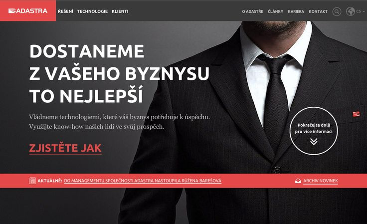 Our biggest website app project ever! Fully responsible website for masters of technology - Adastra. Visit www.adastra.cz/en