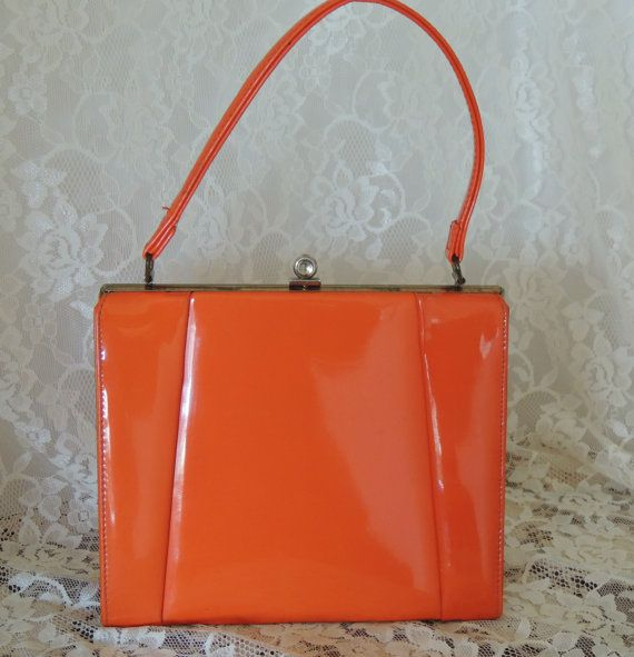 Bright ORANGE Patent Vintage Berne' Handbag   by PursonalBaggage2, $42.00