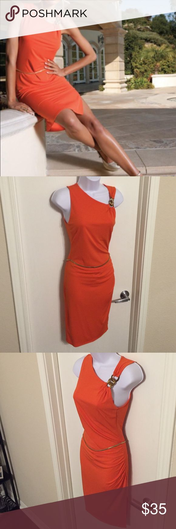 J Lo orange dress Worn once to a wedding. Size XS but fits like a S/M. You simply can't go unnoticed in this sexy number. Jennifer Lopez Dresses